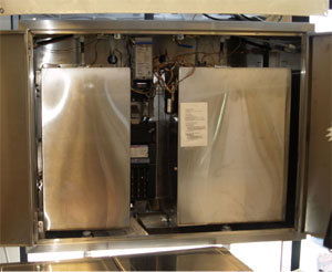 Rear view of a window vending machine